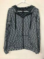 RBX Women's Hooded Zipper Jacket Size XL Fleece Lined Space Dye Black White