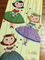 Adorable Totally Retro Vintage Birthday Card Unused Marionettes 3 Wishes Glitter