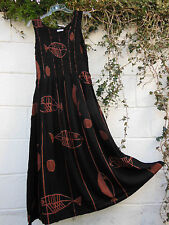 SLEEVELESS MAXI DRESS TIE DYE FISH DESIGN ONE SIZE 12 - 24  ETHNIC BOHO HIPPY