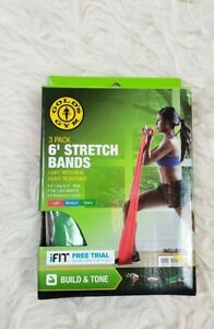 Gold's Gym 6' Excercise Stretch Bands 2 Pack Medium & Heavy Resistance Only