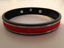 Montblanc Silver Stainless Steel and Red Rubber Men's Bracelet
