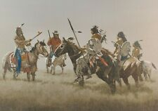 John Pace Oil Canvas Painting Western Art Native American Plains Indians Horses