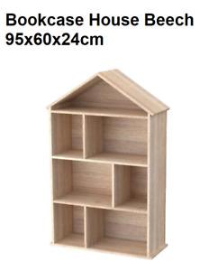 Kids' Large House Bookcase Toys Magazine Organiser Shelf Storage Rack - Wooden