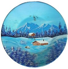New listing Gold Mining Pan Hand Painted Alaska Snowy Cabin Mountains Ken Sissom Vtg Art
