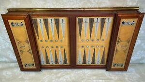 Vtg Franklin Mint Excalibur Backgammon Set w/ Metal Embossed Game Pieces 1988