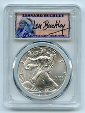 2019 $1 American Silver Eagle 1oz PCGS MS70 FDOI Leonard Buckley