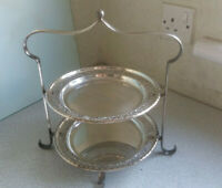 VINTAGE SILVER PLATED TWO TIER CAKE STAND WITH PLATES - 11 X 11 INCHES