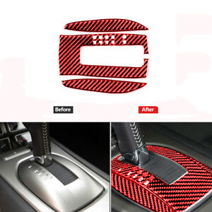 Red Carbon Fiber Gear Shift Panel Cover Trim Fit For Chevrolet Camaro 2010-2015