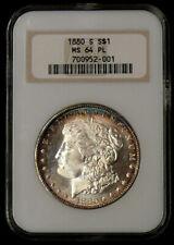 "1880-S MS-64 PL Toned Morgan Dollar **OLD ""FAT BOY"" HOLDER NGC **"