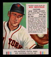1953 RED MAN TOBACCO #20N WES WESTRUM W/TAB EX-MT OV1188