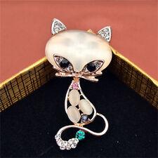 Gold Filled Opal Stone Fox Brooches Women Fashion Cute AnimalPins Brooch Jewelry