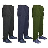 Mens Elasticated Fleece Lined Thermal Cargo Work Bottoms Pants Trousers S-3XL