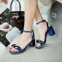 Women Buckle Block Heel Strap Shiny Open Toe Sandals Sexy Party Clubwear Shoes