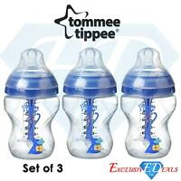 3 x Tommee Tippee Baby Bottles 260ml 0+ Months Blue Anti-Colic