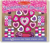 Melissa & Doug 19495 Shimmering Hearts Wooden Bead Set, Orange