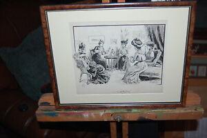 """Original 1893 antique indian ink drawing by H.M.Lewis, """"Ladies Afternoon Tea""""."""