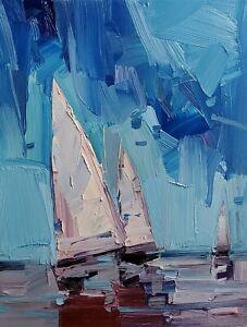 JOSE TRUJILLO Oil Painting IMPRESSIONISM CONTEMPORARY Seascape Sailboats NR