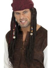 Pirate Brown Wig with Plaits Caribbean Dreadlocks Adults Fancy Dress