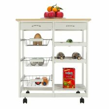 Moveable Kitchen Cart with Two Drawers Two Wine Racks Three Baskets Kitchen