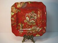222 Fifth Fine China Gabrielle Square  Red Floral Salad Plate Excellent
