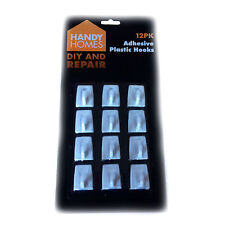 Self Adhesive White Plastic Hooks - Pack Of 12