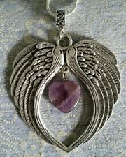 ANGEL WINGS PENDANT WITH AN AMETHYST HEART GEMSTONE CHARM ON A 50CM SP NECKLACE