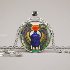 """Egyptian Scarab charm pendant 20"""" Sterling Silver 925 necklace chain female mom"""