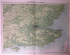 Características geográficas de Inglaterra e Gales 5 antiguo mapa c1898 Bartolomé grandes