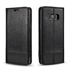 For Samsung Galaxy S8 Magnetic Leather Flip Case Card Holder Stand Cover Black