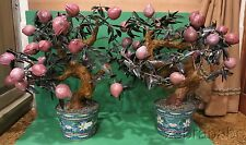 Antique Vtg Chinese Jade Tree Matching Pair Rose Quartz Flower Buds Cloisonne