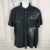 INC International Concepts Mens 2XL Polo Shirt Black 100% Cotton Short Sleeve