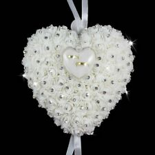 Wedding Favors Ring Pillow Box Heart Design Rhinestone Pearl Cushion Decoration