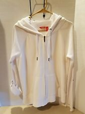 Izod Women's Hoodie Sz XL - White with Short/Long Button Up Sleeve. W/Pockets.