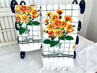 Vintage St. Marys B&D Kitchen Dish Towel & Wash Cloth Orange & Yellow Daisies
