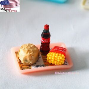 Dollhouse Miniatures 1:12 scale French Fries Burger Wood Tray Set Fast Food DIY