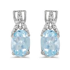 10k White Gold Oval Aquamarine And Diamond Earrings