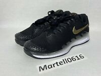 NEW Nike Air Zoom Vapor X Knit Black Gold Tennis Shoes AR0496-003 Size 10
