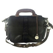 RABEANCO BLACK & BROWN LEATHER MESSENGER CROSSBODY BAG