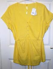NEW EVANS YELLOW LEMON LINEN BLEND LONGLINE TOP SIZE 22  # 40