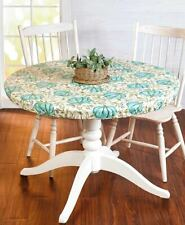 New listing Round Custom Fit Seasonal Table Cover - Teal Pumpkin and Vines