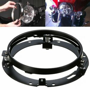 "Black 7""LED Headlight Round Mounting Bracket Ring For Jeep Wrangler JK TJ Harley"