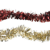 Christmas Wide and Thin Tinsel Garlands, 7-1/2-Feet, 2-Piece