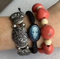 Set Of 3 Halloween Bracelets Stretch Skull Bead Adjustable Sugar Skull