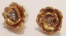 boucles d'oreilles percée vintage couleur or rose en relief cristal diamant 249