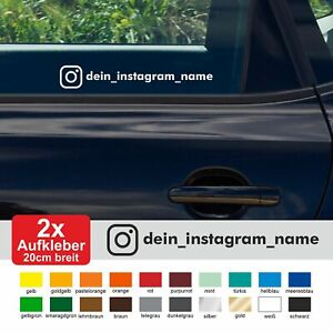 2x Aufkleber Instagram WUNSCHTEXT 20cm breit