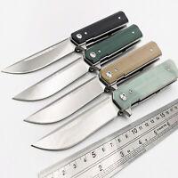 Ball Bearing composite fiber Folding Knife 9Cr18MoV Blade G10 Handle Flipper EDC