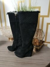 8820e1a0972 Gucci Suede Shearling Courtney Gg Wedge Knee high Tall Black (296265)
