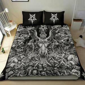 Skull Demon Satanic Pentagram Sexy Witch Throne 3 Piece Duvet Set New Red