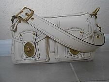 Coach Satchel 12868 Legacy Turnlock IVORY LEATHER Shoulder Bag RARE BEAUTY