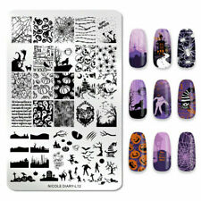 NICOLE DIARY Rectangle Stamping Plate Halloween Stainless Steel Nail Art L012